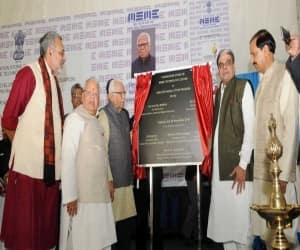 The Governor of Uttar Pradesh, Shri Ram Naik and the Union Minister for Micro, Small and Medium Enterprises, Shri Kalraj Mishra jointly laid the foundation stone of MSME Technology Centre, at Greater Noida, Uttar Pradesh on November 29, 2016. The Minister of State for Culture and Tourism (Independent Charge), Dr. Mahesh Sharma and the Ministers of State for Micro, Small & Medium Enterprises, Shri Giriraj Singh and Shri Haribhai Parthibhai Chaudhary are also seen.