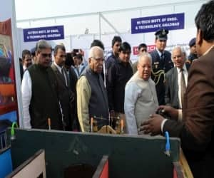 The Governor of Uttar Pradesh, Shri Ram Naik and the Union Minister for Micro, Small and Medium Enterprises, Shri Kalraj Mishra visiting an exhibition, at the foundation stone laying ceremony of MSME Technology Centre, at Greater Noida, Uttar Pradesh on November 29, 2016. The Minister of State for Micro, Small and Medium Enterprises, Shri Haribhai Parthibhai Chaudhary is also seen.