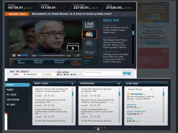 Moneycontrol Budget 2012 dashboard brings you the live action on Budget 2012, industry reactions, and its impact on your stocks and sectors all in one place. Stay updated on your portfolio net worth and action in the markets while watching the Budget. 