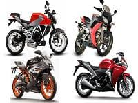 Spec Comparison between HX250R, CBR250R, GD250N & RC200