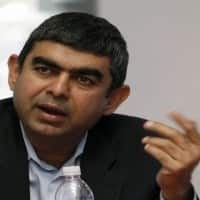 Sikka's confidence, weak rupee drive Infosys up 4%